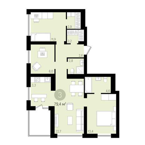Вариант №3447, 4-комнатная квартира в жилом комплексе Европейский Берег