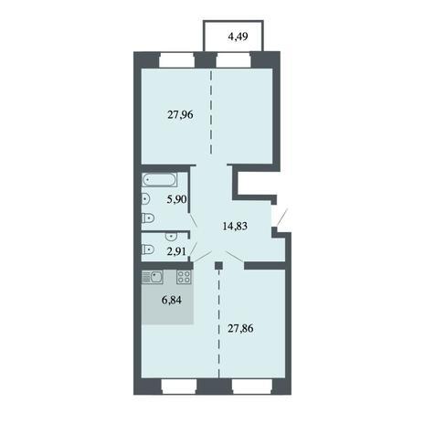 Вариант №4474, 4-комнатная квартира в жилом комплексе Спектр