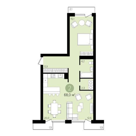 Вариант №3293, 2-комнатная квартира в жилом комплексе