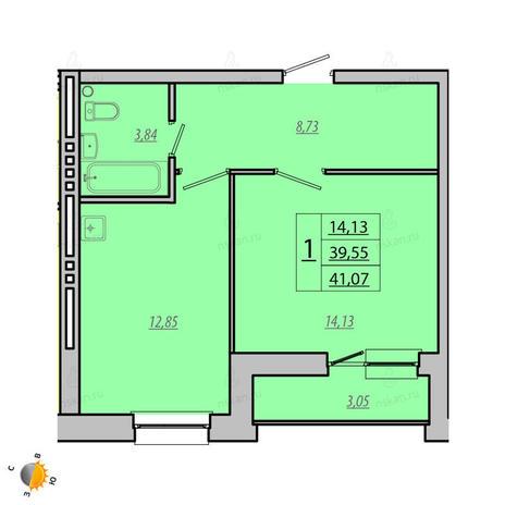 Вариант №1926, 1-комнатная квартира в жилом комплексе Лазурит