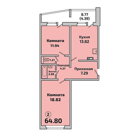 Вариант №3401, 2-комнатная квартира в жилом комплексе