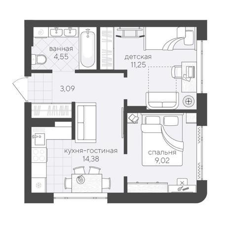 Вариант №6171, 3-комнатная квартира в жилом комплексе