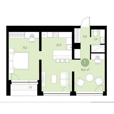 Вариант №4690, 3-комнатная квартира в жилом комплексе