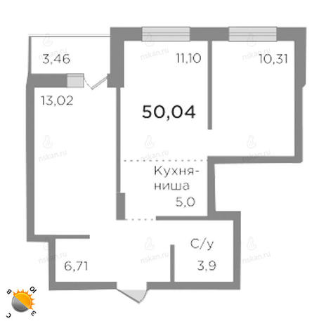Вариант №1786, 3-комнатная квартира в жилом комплексе
