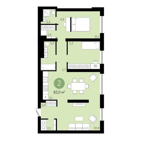 Вариант №3633, 3-комнатная квартира в жилом комплексе Квартал на Никитина