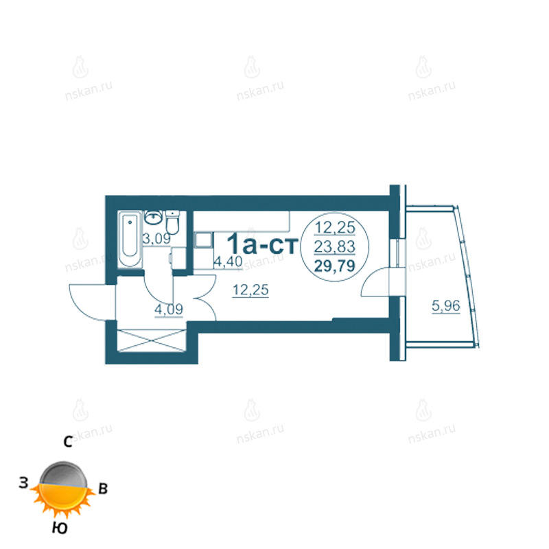 Планировка 1-комн. студия площадью 29.79 м<sup>2</sup> в ЖК Флотилия