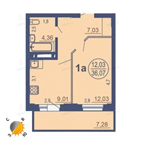 Вариант №1683, 1-комнатная квартира в жилом комплексе На Зыряновской