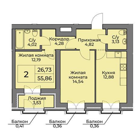 Вариант №3563, 2-комнатная квартира в жилом комплексе