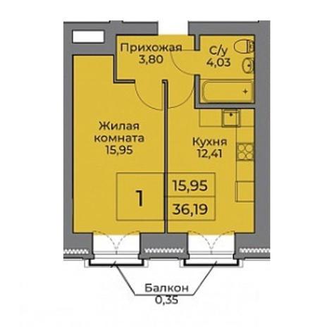 Вариант №3536, 2-комнатная квартира в жилом комплексе