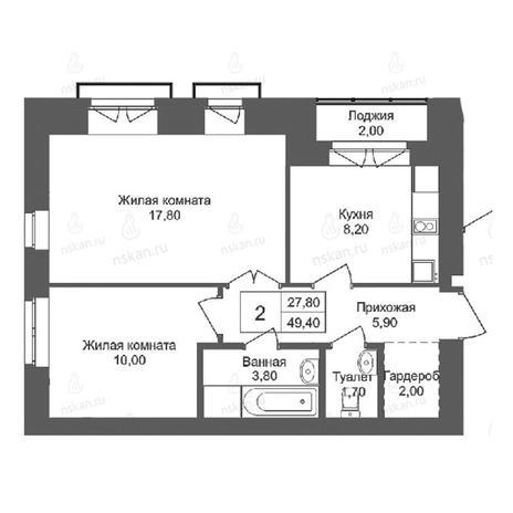 Вариант №2761, 2-комнатная квартира в жилом комплексе