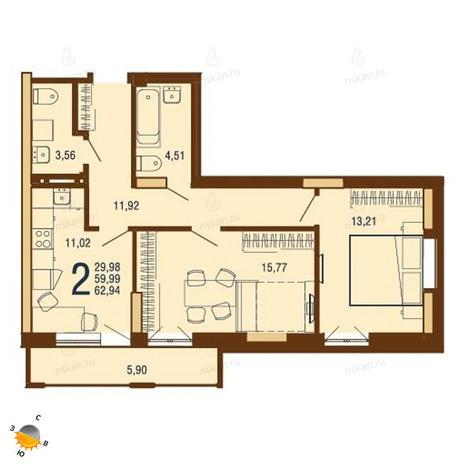 Вариант №1811, 2-комнатная квартира в жилом комплексе На Доватора