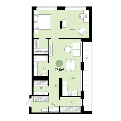 Вариант №6388, 2-комнатная квартира в жилом комплексе