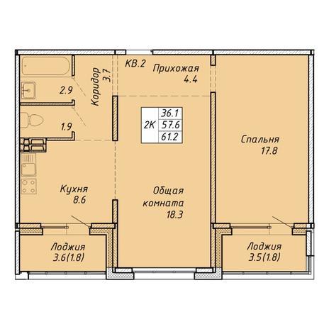 Вариант №6465, 2-комнатная квартира в жилом комплексе