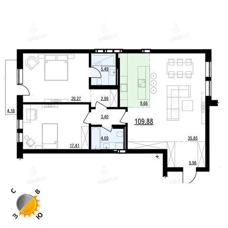 Вариант №899, 3-комнатная квартира в жилом комплексе На Декабристов