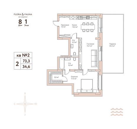 Вариант №2166, 2-комнатная квартира в жилом комплексе Flora & Fauna