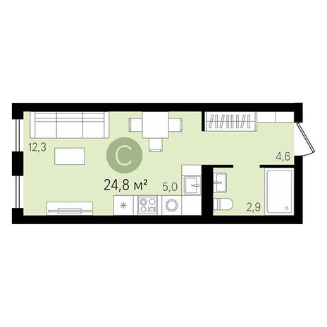 Вариант №2989, 1-комнатная квартира в жилом комплексе