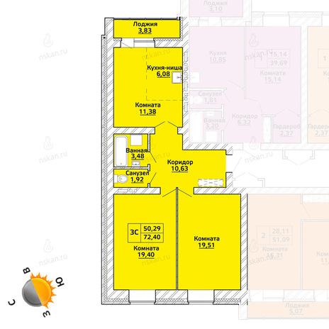 Вариант №519, 3-комнатная квартира в жилом комплексе Начало мая