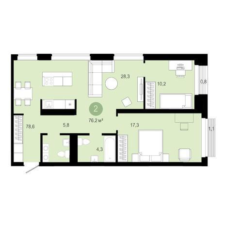 Вариант №4583, 3-комнатная квартира в жилом комплексе