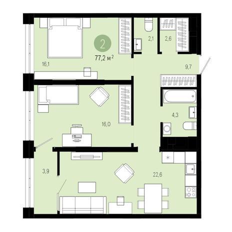 Вариант №4846, 3-комнатная квартира в жилом комплексе