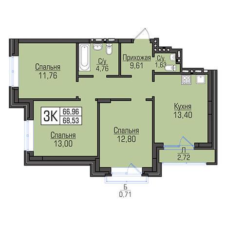 Вариант №2935, 3-комнатная квартира в жилом комплексе Эволюция