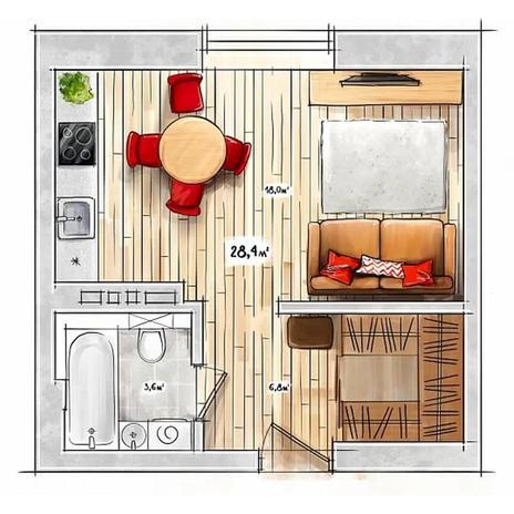 Вариант №3945, 1-комнатная квартира в жилом комплексе БонАпарт