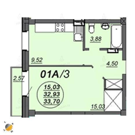 Вариант №2335, 1-комнатная квартира в жилом комплексе Аэропорт