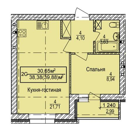 Вариант №5390, 2-комнатная квартира в жилом комплексе