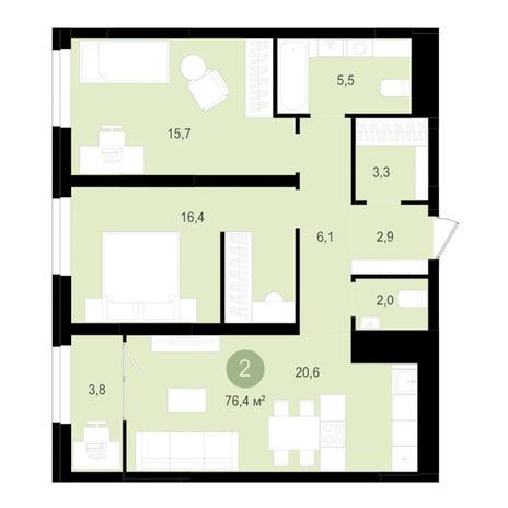 Вариант №3520, 3-комнатная квартира в жилом комплексе Лебедевский