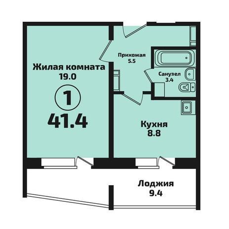 Вариант №4577, 1-комнатная квартира в жилом комплексе