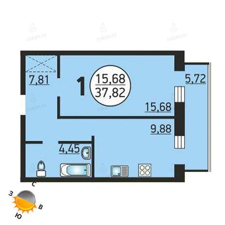 Вариант №1371, 1-комнатная квартира в жилом комплексе Семьи Шамшиных 55