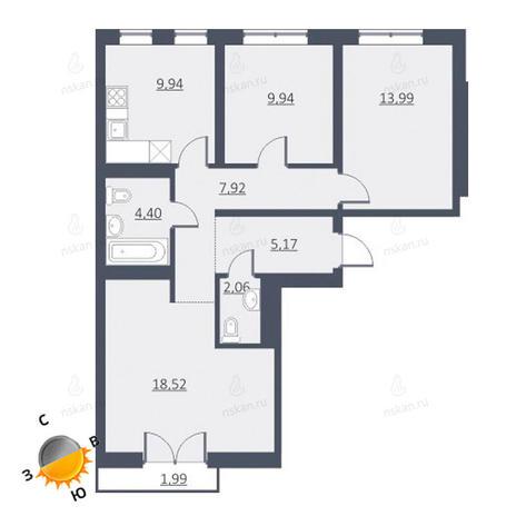 Вариант №1643, 4-комнатная квартира в жилом комплексе Дунаевский