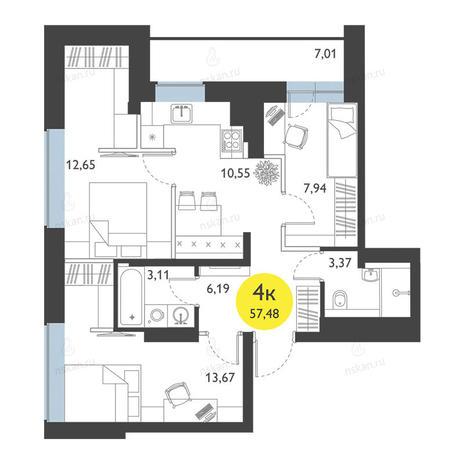 Вариант №2777, 3-комнатная квартира в жилом комплексе