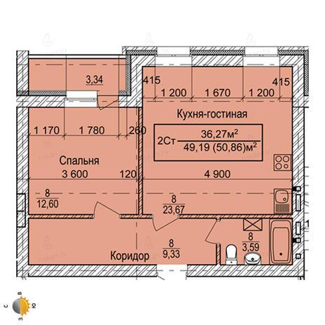 Вариант №2259, 2-комнатная квартира в жилом комплексе