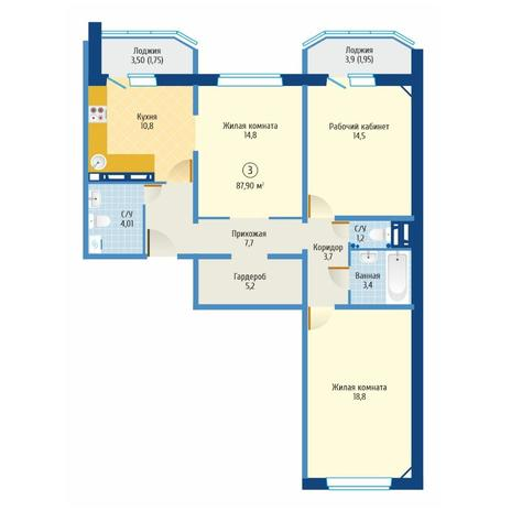 Вариант №6082, 3-комнатная квартира в жилом комплексе