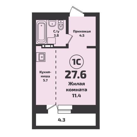 Вариант №5694, 1-комнатная квартира в жилом комплексе