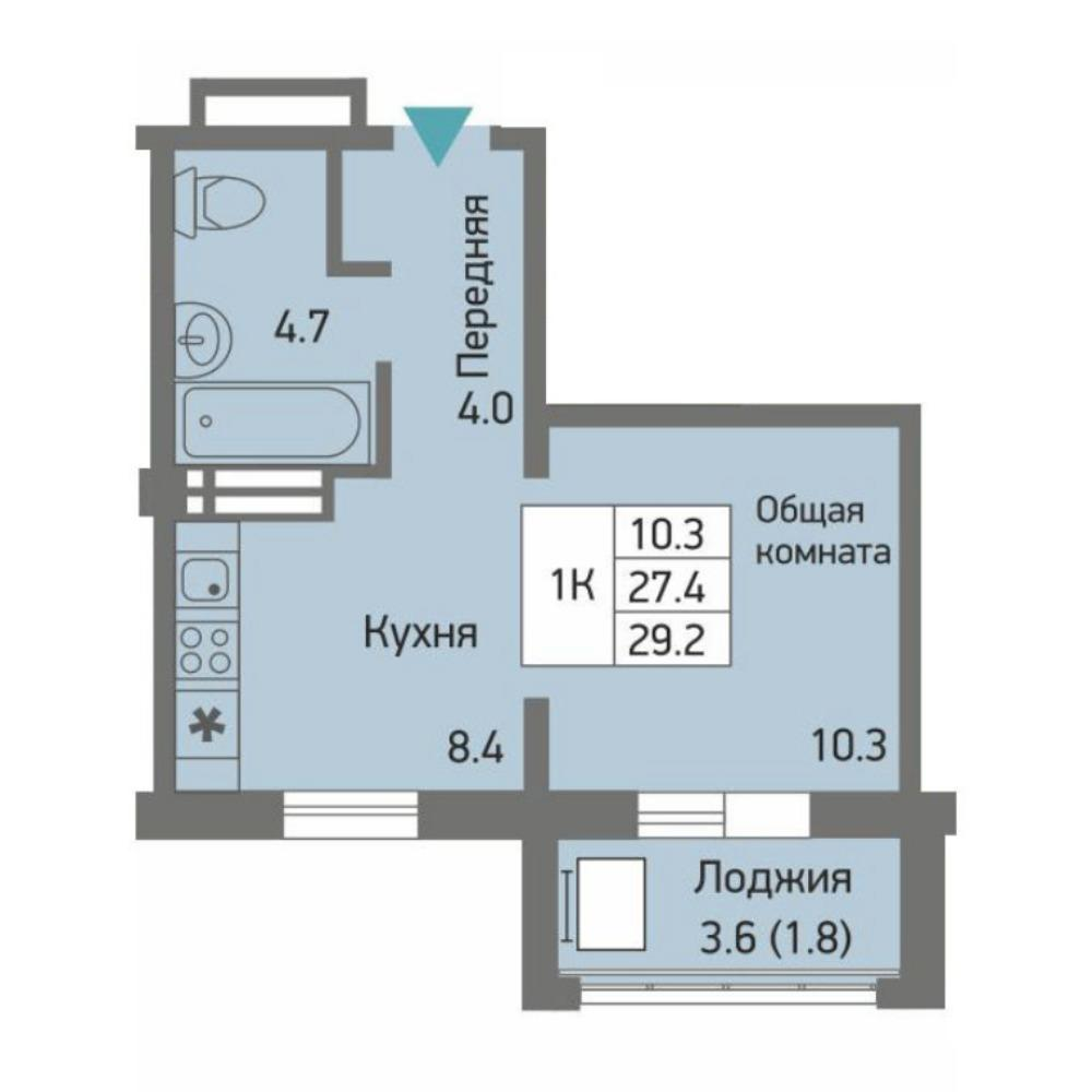 Планировка 1-комнатная площадью 29.2 м<sup>2</sup> в ЖК Акварельный 3.0