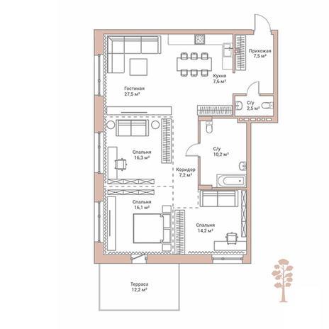 Вариант №2894, 4-комнатная квартира в жилом комплексе Flora & Fauna