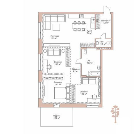 Вариант №2894, 4-комнатная квартира в жилом комплексе