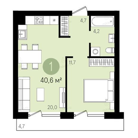 Вариант №2784, 2-комнатная квартира в жилом комплексе Европейский Берег