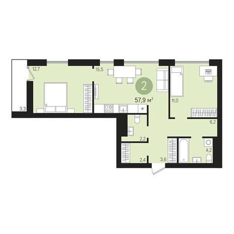 Вариант №3011, 3-комнатная квартира в жилом комплексе