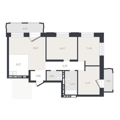 Вариант №3325, 4-комнатная квартира в жилом комплексе Лев Толстой