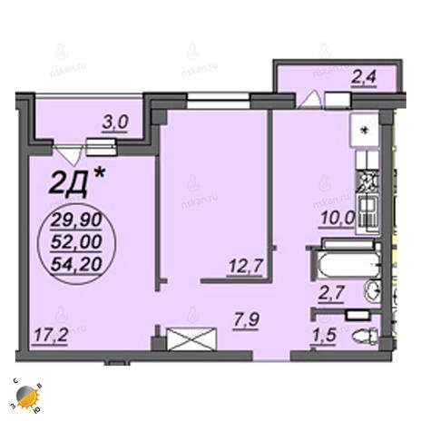 Вариант №2345, 2-комнатная квартира в жилом комплексе Аэропорт