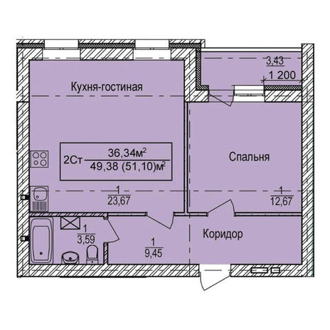 Вариант №3332, 2-комнатная квартира в жилом комплексе