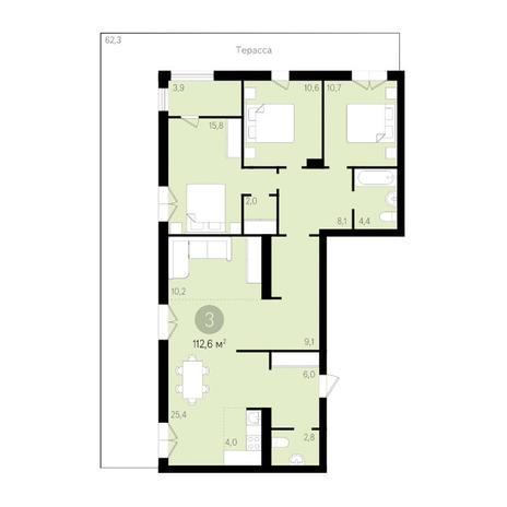 Вариант №3463, 4-комнатная квартира в жилом комплексе