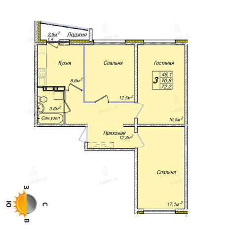 Вариант №1853, 3-комнатная квартира в жилом комплексе Европейский Берег