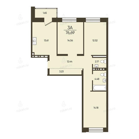 Вариант №2570, 3-комнатная квартира в жилом комплексе