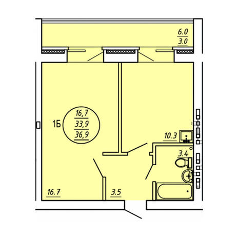 Вариант №3588, 1-комнатная квартира в жилом комплексе