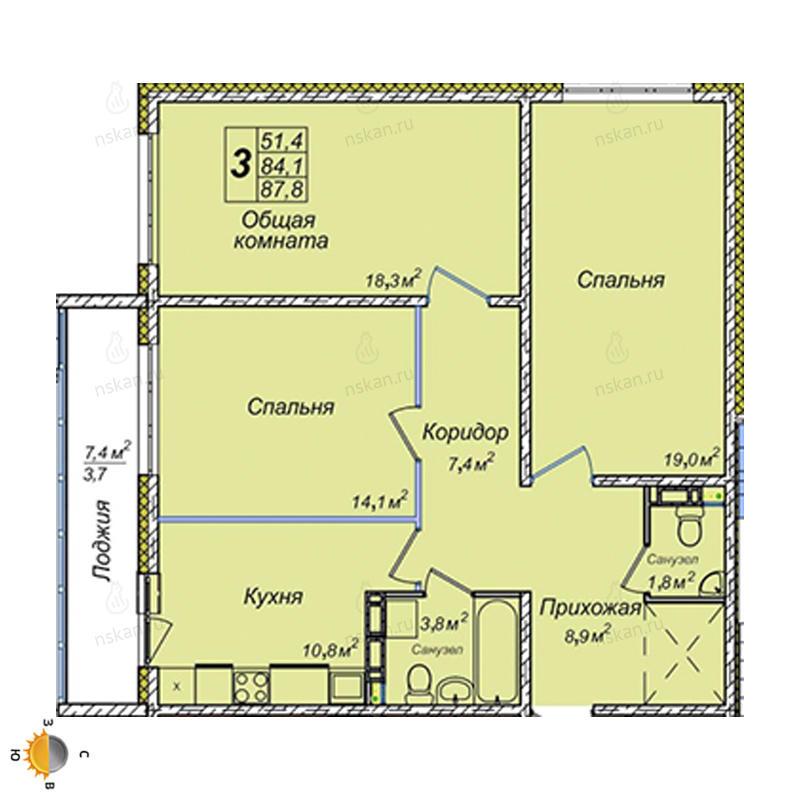 Планировка 3-комнатная площадью 87.8 м<sup>2</sup> в ЖК Венеция