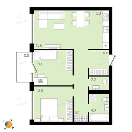 Вариант №2143, 3-комнатная квартира в жилом комплексе