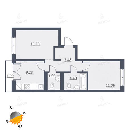 Вариант №1633, 2-комнатная квартира в жилом комплексе